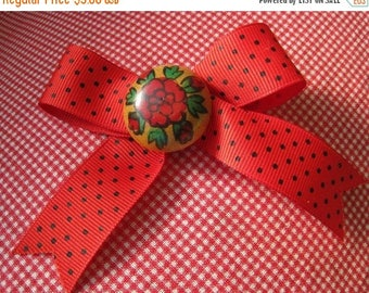 25% Off Sale Handmade Red Polka Dot Bow with Painted Flower Wood Center