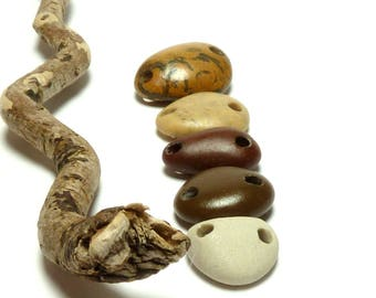 Beach Stone Connectors FAB FIVE Double Drilled Link Pebble Beads River Rocks Earthy Tribal Charm Beachstones Components