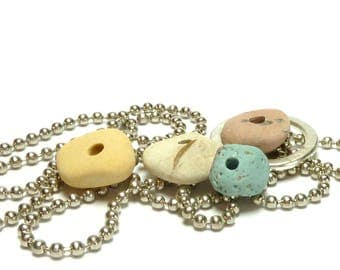 Sea Slag Glass PASTEL WINTER Stone Pebble Set Natural White Blue Pink Stone Mix Rock Donut Jewelry Rondelles Organic Beads