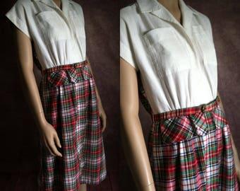 Vintage 40s Dress | 1940s Cotton Plaid Day Dress