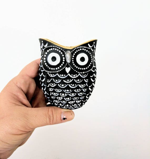Black and White hand painted Owl shaped votive candle holder