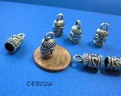 Bead Caps, 10pcs Tassel Caps, Loop Top, Medium Small Antique Silver Kumihimo End Caps 13x7mm, 5mm i.d. Bullet Cap, Kumihimo Cord Ends CE8026