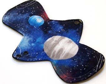 "Reusable Cloth Menstrual pad- 11 inch OVERNIGHT flow -bamboo core - Windpro - Cotton Flannel top in ""Space"""