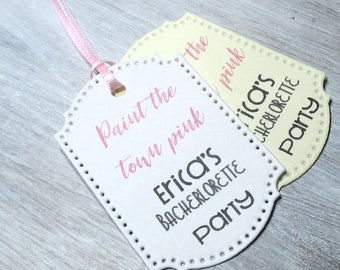 Paint the town pink Tags -  Set of 20 - Personalized - Favor tags - Hang tags - Bachelorette Party