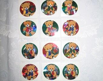 Christmas Bear Stickers Set of 18
