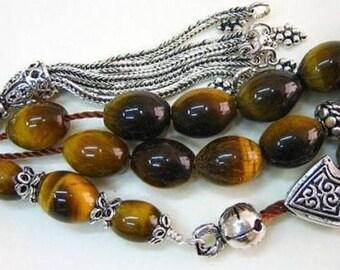 Greek Komboloi worry beads oval Tiger Eye & Sterling Silver