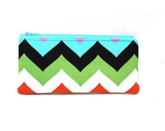 Cosmetic Case, Cord Case, Bridesmaid Gifts, All-Purpose Zipper Case, Multi-colored medium chevron 9010