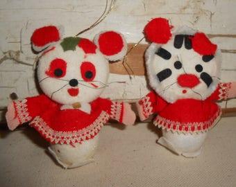 Vintage Styroform Christmas Animal Ornaments, Vintage Christmas Ornaments