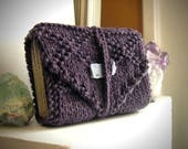 Tarot wrap / knit tarot wrap / tarot travel case / tarot mat / purple tarot case / knit tarot wrap / tarot card holder