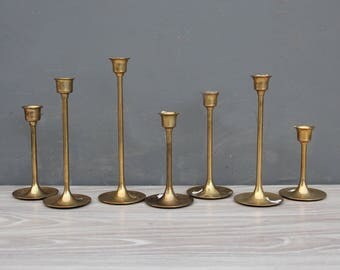 Graduated Modern Tulip Base Brass Candlesticks (Set of 7)