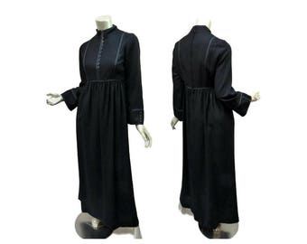 Howard Hirsh Wool Maxi Dress Size Small-Medium Empire Waist Mandarin Collar Steampunk Prairie Goth