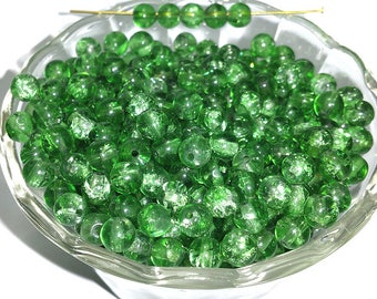 Vintage Green Crackle Beads 6mm Leafy Tone Glass Rounds 40 Pcs.