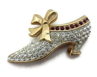 Swarovski Shoe Brooch - Rhinestone Costume Jewelry Gold Tone Bow