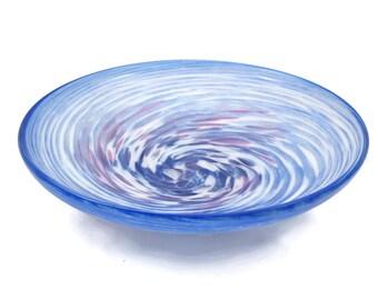 Art Glass Bowl - Swirled Blue White Pink Artist Signed Matthew Larwood 1990s