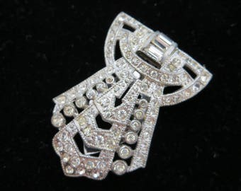 Art Deco Dress Clip - Vintage Clear Rhinestone Bridal Jewelry Sash Clip