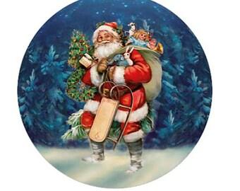 Germany Paper Mache Small Victorian Santa with Sled Papier Mache Ball Box Ornament  PMC225S