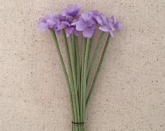 Vintage Flowers Bundle of 12 Purple Fabric Millinery Flowers ~ Vintage East Germany ~ Old Store Stock  VAT012-PU