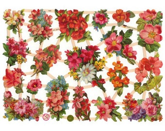 Germany Paper Scraps Lithographed Die Cut Victorian Flowers  7381