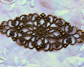 Large Antique Bronze Filigree Metal Embellishment - 1 piece
