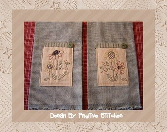 Sunflower Hand Towel Collection 1-Primitive Stitchery  E-PATTERN-Instant Download