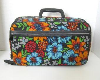 Vintage Floral Canvas Overnight Bag Carry On Bag Travel Luggage