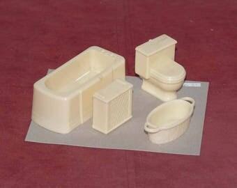 Dollhouse - Bathtub, Toilet, Basket, Hamper -Furniture - Miniature