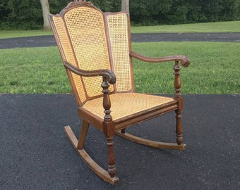 victorian style CANE wingback rocking chair