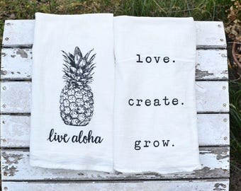 Two Flour Sack Kitchen Tea Towel, Dish Towel, Aloha Pineapple, Cute Towel, Inspiration Towel