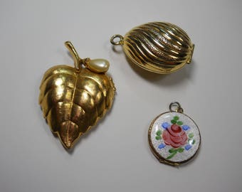 Vintage Lockets Three Pendants 1970's Brass Avon Jewelry Enamel Rose Large Leaf Perfume Locket Egg Shaped Textured Metal