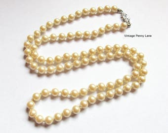 24 Inch Vintage Bead necklace, Glass Pearl Beads, Costume Jewelry