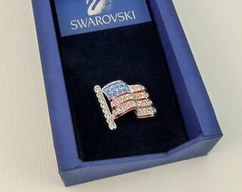 Swarovski Crystal US Flag Tie Tack Pin In Box