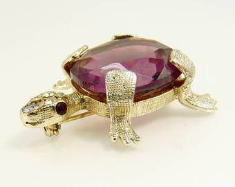 Weiss Rhinestone Turtle Brooch Amethyst Glass