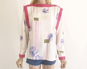 Vintage 80's Silk and Leather Bouse