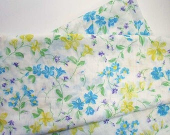 Vintage Fabric, 4 Yards of Vintage 1980's  Lightweight Cotton Dress Fabric, Curtain Fabric, Decor Cotton, Floral Design, Yellow, Blue, White