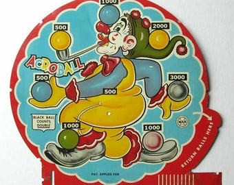 Marx Toys Litho Tin Acroball Game Back Board Piece with Colorful Clown Juggling Balls, Vintage 1940's Wall Decor, Student Room  Decor