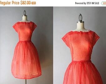 STOREWIDE SALE Vintage 50s Dress / 1950s Sheer Dotted Dress / 50s Apple Red Tiny Dots Dress M/L medium large