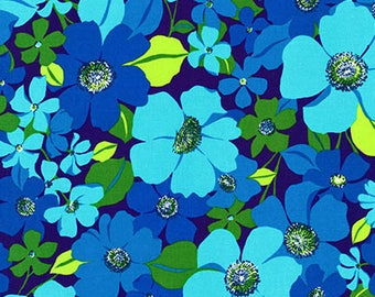 Flowers Blue Green Laurel Canyon Robert Kaufman Fabric