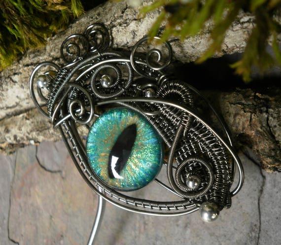 Gothic Steampunk GreenAmethyst Eye Hair Stick Haarstuck