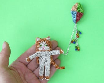 Cat flying a kite brooch - cat jewelry, ginger cat, kite jewelry, animal brooch, kitten jewelry, cat pin