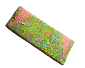 Insulated Curling Iron or Flat Iron Case - Peach and Green
