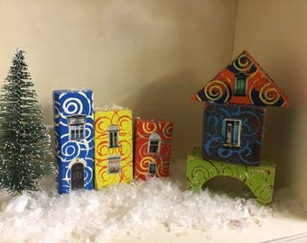Hand Painted Quirky Wooden Block Village - Set Three