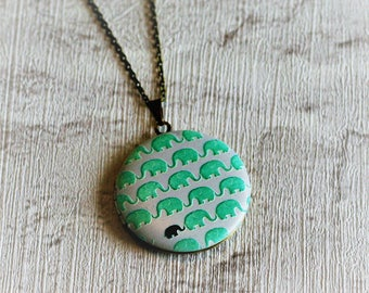 Elephant Locket Necklace, Green Elephant Necklace, New Mum Jewelry