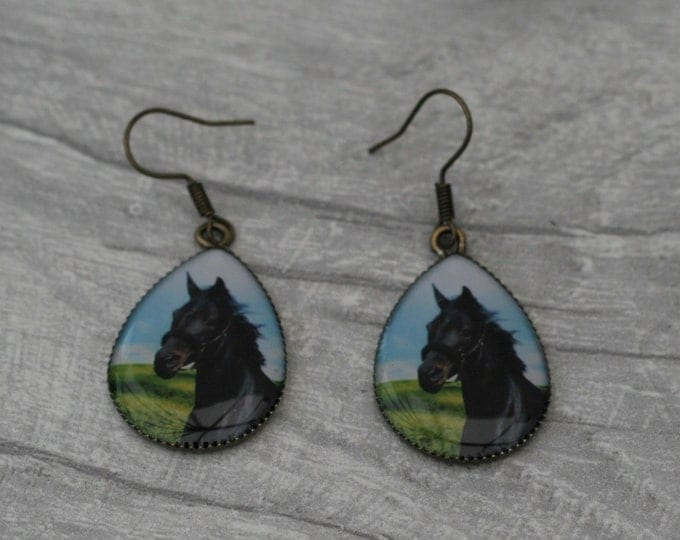 Black Horse Earrings, Pony Jewelry, Equestrian Accessory