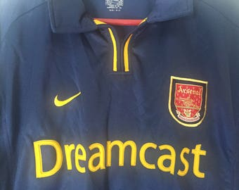 Vintage Arsenal Football Club Dreamcast Shirt by Nike Size Adult XL Highly Collectible Gunners Shirt in Blue and Yellow