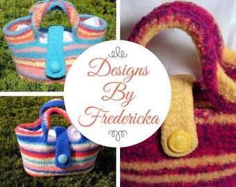 Custom Made Totes..hand knitted and felted to a sturdy, strong finish. These colorful bags are great for lunch, shopping, beach!