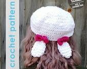crochet pattern, crochet hat pattern, bunny ears hat, slouchy hat, crochet slouchy hat pattern, crochet bunny ears hat, easter gift, lolita