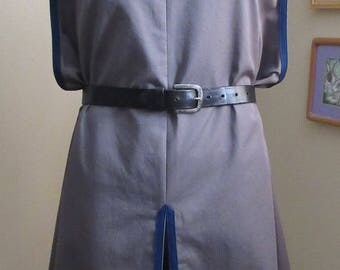 "Surcoat, Ready Made, Dark Grey with Navy Blue Trim , 58"" Chest, Extra Large"