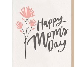 Letterpress 'Happy Mom's Day Flower' Card