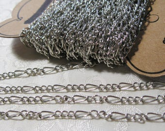 Antique Silver Mother and Son Curb Chain 32 Feet Bulk 377