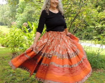 Two Tiered, Full Circle, Bohemian, Maxi Patchwork Skirt